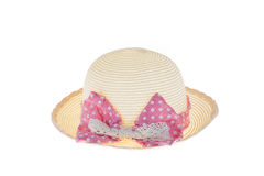 Pretty straw hat with pink ribbon on white background. Isolated Stock Photography