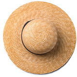Pretty straw hat with ribbon and bow on white background beach hat top view. Pretty beautiful straw hat with ribbon and bow on white background beach hat from a Stock Images