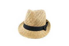 Pretty straw hat with ribbon front side on white background Royalty Free Stock Image