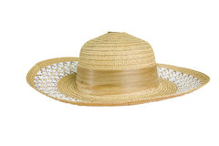 Pretty straw hat with ribbon on white background Stock Image