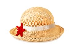 Pretty straw hat with starfish Stock Photos