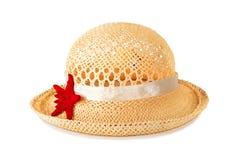 Pretty straw hat with starfish Stock Photos