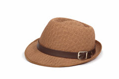 Pretty straw hat on white background Royalty Free Stock Photos