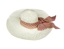 Pretty straw hat  on white Royalty Free Stock Photography