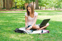 Pretty student doing homework. A pretty young college or high school age girl with study materials royalty free stock photo