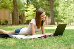Pretty student doing homework Royalty Free Stock Image