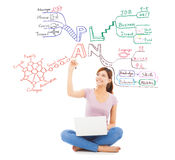 Pretty student drawing a future plan by mind mapping. With white background Stock Photo
