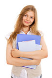 Pretty student with folders and books Stock Photos
