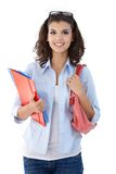 Pretty student with folders Stock Images