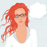 Pretty student girl with long red hair ponders, looks up at the Stock Images