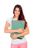 Pretty student girl with pink pants Royalty Free Stock Images