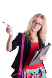 Pretty student girl pointing with pen Royalty Free Stock Photography