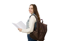 The pretty student holding textbooks isolated on white Stock Photo