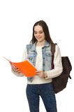 The pretty student holding textbooks isolated on white Royalty Free Stock Images
