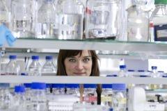 Pretty Student in Laboratory. Pretty female Student in Laboratory Stock Photo