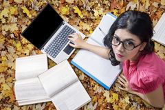 Pretty Student Lying on The Autumn Leaves Stock Image