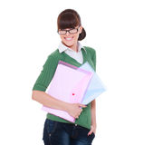 Pretty student with papers Stock Images
