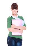 Pretty student with papers Stock Image