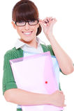 Pretty student with papers Stock Photo