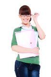Pretty student with papers Royalty Free Stock Photos