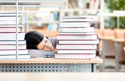 Pretty student sleeping at the desk Royalty Free Stock Image