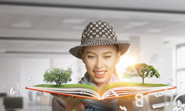 Pretty student studying science Stock Images