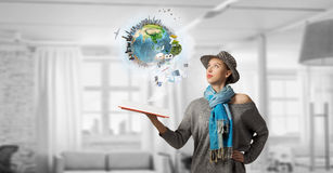 Pretty student studying science . Mixed media Royalty Free Stock Image