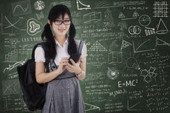 Pretty student using cellphone for texting Stock Image
