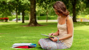 Pretty student using tablet pc outside stock video footage