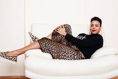 Pretty stylish african american big mama woman well dressed. swa Royalty Free Stock Photos