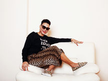 Pretty stylish african american big mama woman well dressed. swa Stock Image