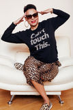 Pretty stylish african american big mama woman well dressed. swag relax at home, leopard print on clothers. fashion. Look sunglasses royalty free stock image