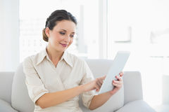Pretty stylish brunette businesswoman using a tablet pc Stock Images