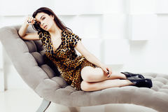 Pretty Stylish Woman In Fashion Dress With Leopard Print Together In Luxury Rich Room Interior, Lifestyle People Concept Stock Images