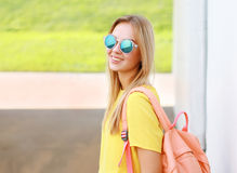 Pretty stylish woman in sunglasses posing in summer Royalty Free Stock Image