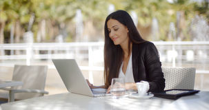 Free Pretty Stylish Woman Using Her Laptop Royalty Free Stock Images - 63394579