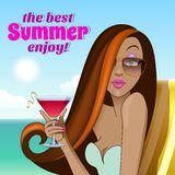 Pretty summer girl with sunglasses and cocktail Royalty Free Stock Photo