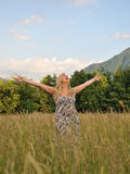 Pretty summer woman in countryside Royalty Free Stock Photos
