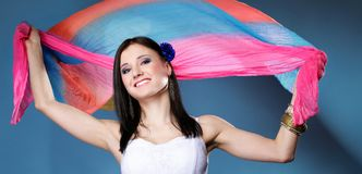 Pretty summer woman with flying shawl Royalty Free Stock Photo