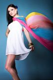 Pretty summer woman with flying shawl Royalty Free Stock Image