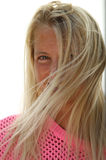Pretty sun-tanned blond girl in natural light Stock Photography