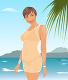 Pretty suntanned girl on beach Royalty Free Stock Photo