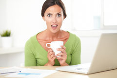 Pretty surprised female surfing web for business Stock Photo