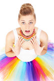 Pretty surprised woman royalty free stock photography
