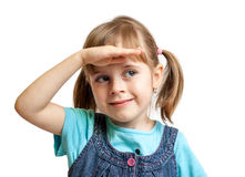 Pretty sweet young girl watching isolated Royalty Free Stock Image