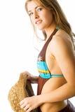 Pretty swimwear profile. Profile portrait of cute nineteen year old model wearing one-piece Stock Image