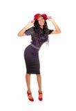 Pretty tall black woman standing. Stock Photo