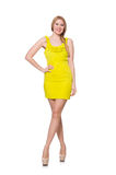 Pretty tall woman in short yellow dress isolated Stock Photography