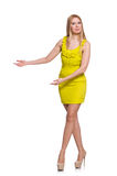 Pretty tall woman in short yellow dress isolated Stock Photos