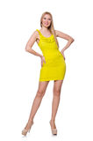 Pretty tall woman in short yellow dress isolated Stock Image